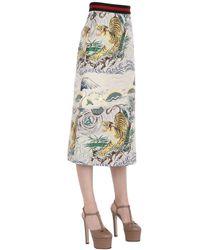Gucci - Multicolor Flower & Tiger Print Silk Jacquard Skirt - Lyst