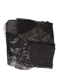 Cutuli Cult - Black Patchwork Leather & Silk Scarf for Men - Lyst