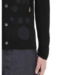 Comme des Garçons | Black Cutout & Dot Printed Fine Wool Cardigan for Men | Lyst