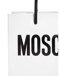 Moschino | White Logo Shopping Nappa Leather Tote | Lyst