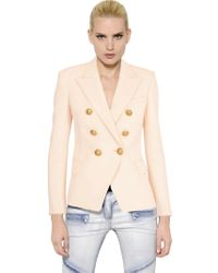 Balmain   Pink Double Breasted Viscose Crepe Jacket   Lyst
