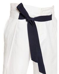 Bikkembergs - White 26cm Loose Fit Linen & Cotton Pants for Men - Lyst