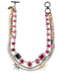 Venna | Multicolor Spiked Swarovski Crystal Necklace | Lyst