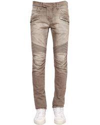 Balmain | Natural 17cm Biker Washed Cotton Denim Jeans for Men | Lyst
