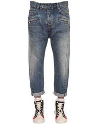 Balmain   Blue Twisted Baggy Cotton Denim Jeans for Men   Lyst