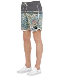 "Quiksilver - Gray Stomp Cracked Scallop 18"" Boardshorts for Men - Lyst"
