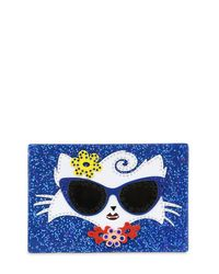 Karl Lagerfeld Blue Choupette Beach Box Clutch