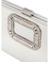 Roger Vivier Metallic Pilgrim Swarovski Mirror Leather Clutch