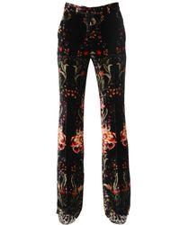 Roberto Cavalli Black Printed Silk-Satin Flared Pants