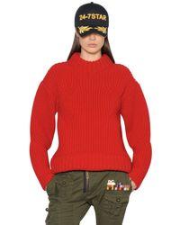 DSquared² Red Wool Rib Knit Sweater