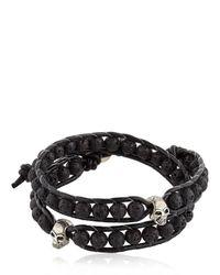 Colana   Black Steel Skull & Lava Beads Bracelet for Men   Lyst