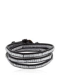 Colana | Black Wrap Around Leather Bracelet | Lyst