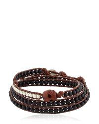 Colana | Brown Wooden Skull & Onyx Wrap Bracelet | Lyst