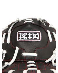 KTZ Black Contrasting Lacing Leather Baseball Hat for men