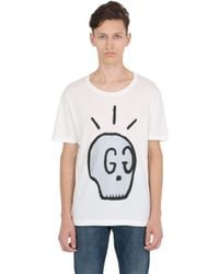 Gucci | White Skull Printed Cotton Jersey T-shirt for Men | Lyst