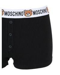 Moschino - Black Teddy Bear Logo Ribbed Cotton Shorts for Men - Lyst