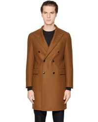 Boglioli | Brown Double Breasted Wool Blend Twill Coat for Men | Lyst