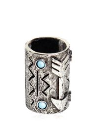 Valentino | Metallic Turquoise & Silver Colored Bandana Ring for Men | Lyst