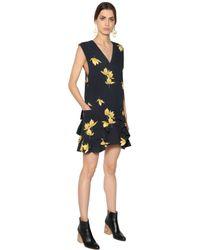 Marni Black Ruffle Trim Floral Crepe Marocain Dress