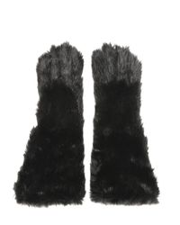 Cheap Monday | Black Faux Fur & Faux Patent Leather Gloves for Men | Lyst