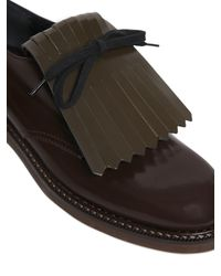 Marni Brown 30mm Fringed Brushed Leather Shoes