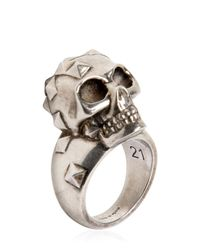Alexander McQueen | Metallic Studded Skull Ring for Men | Lyst