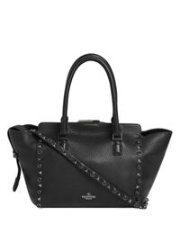 Valentino Black Rolling Noir Grained Leather Bag