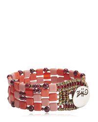 Ziio | Pink Pixel Red Beaded Bracelet | Lyst