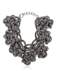 Alienina - Gray Altrove Brass And Cotton Knot Necklace - Lyst