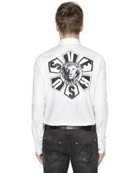 Versus White Logo Patches Cotton Poplin Shirt for men