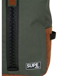 Supe Design Brown Day Bag Nylon & Ecoleather for men