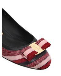 Ferragamo Multicolor 40mm Fosca Leather & Suede Pumps