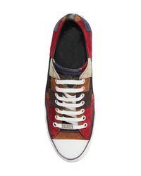 Roberto Cavalli Multicolor Patchwork Suede Leather Sneakers for men