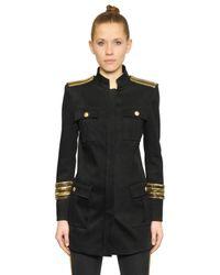 Balmain Black Embellished Cotton Blend Twill Jacket