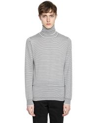 Lanvin | Black Striped Wool Knit Turtleneck Sweater for Men | Lyst