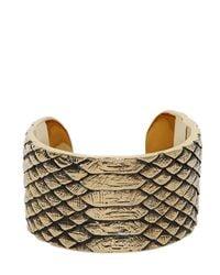 Saint Laurent | Metallic Python Engraved Brass Cuff Bracelet | Lyst