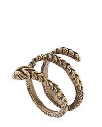 Saint Laurent - Brown Engraved Python Brass Ring - Lyst