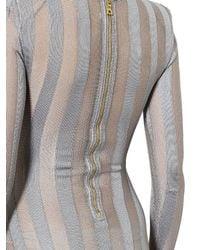 Balmain - Gray Sheer Stripes Stretch Bodysuit - Lyst