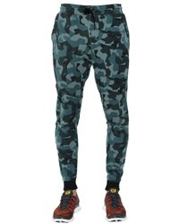 Nike Blue Printed Tech Cotton Jogging Pants for men