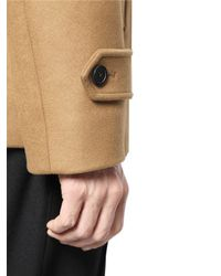 Wooyoungmi Brown Stretch Wool Cashmere Blend Pea Coat for men