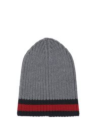Gucci | Multicolor Web Wool Cable Knit Beanie Hat | Lyst
