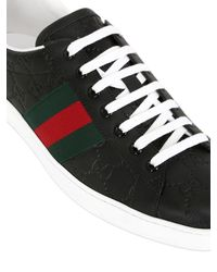 Gucci | Black Ace Signature Leather Sneakers for Men | Lyst