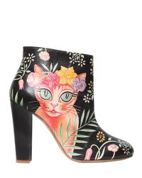 Camilla Elphick | Black 105mm Cat Printed Leather Ankle Boots | Lyst