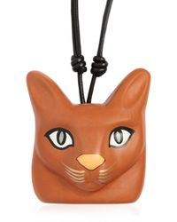 Loewe - Black Hand-painted Cat Face Leather Necklace - Lyst