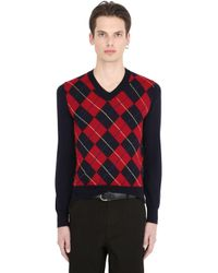 Comme des Garçons | Black Boy Argyle Wool Knit V Neck Sweater for Men | Lyst