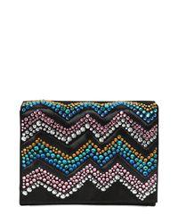 Giuseppe Zanotti   Black Zigzag Crystal Embellished Suede Clutch   Lyst