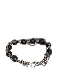 Emanuele Bicocchi | Black Onyx Beads & Silver Chain Bracelet | Lyst