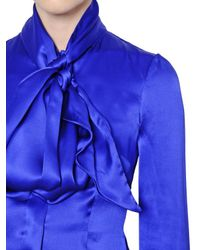 Gareth Pugh Blue Bow Collar Silk Satin Shirt