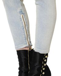 Balmain - Blue Loose Fit Washed Biker Denim Jeans - Lyst