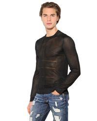 Bikkembergs Black Transparent Long Sleeve Nylon Shirt for men